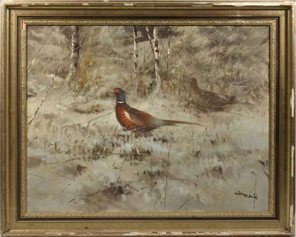 """Large oil on canvas, male and female pheasants in winter landscapes, signed Pieter Dik,  32"""" X 39.5"""" canvas size. -Condition: original un-cleaned Surface, flaking and losses to frame"""