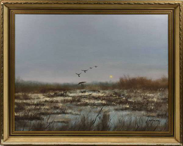 """Oil on canvas, Geese taking flight from snowy marsh, signed Pieter Dik, 32"""" W x 39""""H  Canvas size. -Condition: original uncleaned surface, losses to frame"""