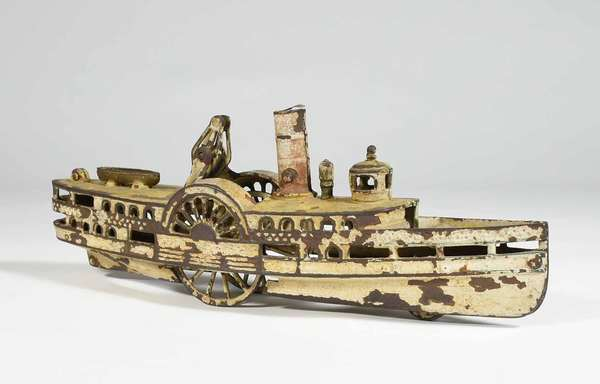 """Late 19th C. cast iron ship pull toy in form of Old Iron-sides/ paddle-wheeler, original paint - 15"""" X 3.25 X 5.25"""" -Condition: painting flaking and loss, see images"""