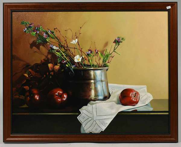 """Alexander Sheversky oil on canvas, still life oil on board, image size 24"""" x 30"""" Condition very good."""