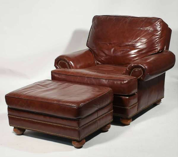 """Quality large size Oxblood leather chair and ottoman, by Distinction Leather, fit for the hardiest sportsmen and sportswomen alike! 45"""" W X 36"""" H X 41"""" D -Condition: very nice condition with minimal signs of wear"""