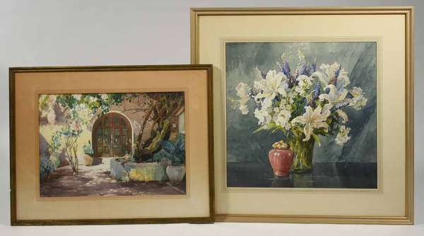 """Two Nellie L. Murphy watercolors, still life flowers 21.5"""" x 21.5"""", matted and framed signed upper right with doorway image 15"""" x 21"""" signed Lower left, framed and matted. -Condition both images very good, some aging to frame and mattings."""