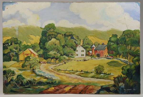 """Oil on canvas, farm scene, signed E.C. Laug '43, unframed, 28"""" X 40"""" -Condition: un-touched estate condition, 5"""" mark on side in cloud line"""