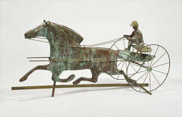 """20th C. copper weathervane, horse and sulky cart, driver with zinc head, 33"""" long X 18"""" high, 9"""" wide. -Condition: some minor bending, Old separation break in solder on attachment to rod"""