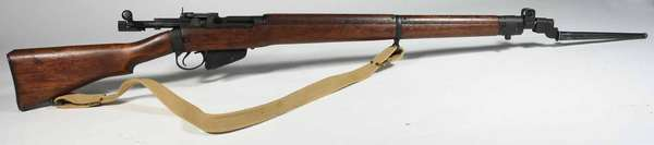 """Enfield British 303 carbine rifle with spike bayonet, clip-marked on barrel, St. Albens, VT. serial # LB22654 Cal 44""""L.- sold with additional bayonet. -Condition: overall good original order, does fire and function."""