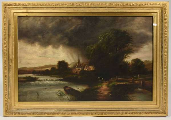 """19th C. American School painting, an unsigned well painted oil on canvas depicting rural river landscape with figure on path with 2 horses, river with ducks in a period gilt frame, image 20"""" x 30"""". -Condition looks to be original canvas, could benefit from a cleaning but no issues."""