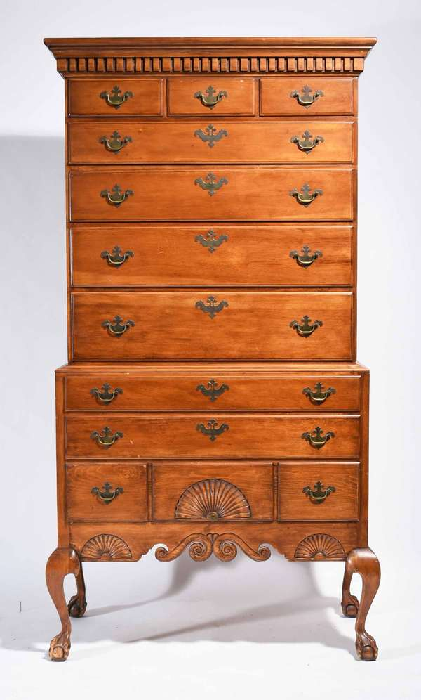 """Bench-Made 20th C. Queen Anne style Two-Part pine highboy In the Dunlap Style, 77"""" H X 40"""" W X 19.5"""" D -Condition: marring on right foot, surface abrasions throughout, structurally sound"""