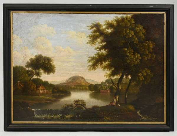 """19th C. oil primitive oil painting, naive Hudson River style with house and figure, 28"""" x 38"""". -Condition small patches, lined, craquelure."""