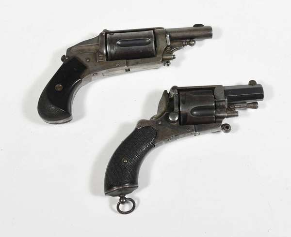 """Two antique European pocket revolvers, Acier Fondu example along with other revolver stamped P.V. & U - 5"""" & 5.5"""" overall length. -Condition: both appear to be in good condition commensurate with age"""