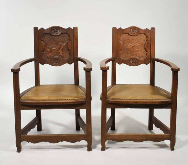 """Pair of Arts & Crafts oak and burlwood paneled armchairs 40""""H. seat height 18"""" -Condition: some lifting and loss in burl back panel, some looseness in joints"""