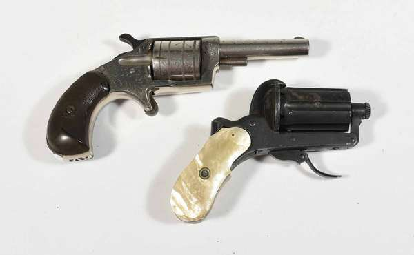 """Nickel plated antique revolver marked on barrel """"Continental"""" with engraving along with a pepperbox type revolver marked A. Francotte Liege with M.O.P grips. -Condition: trigger and hammer function on pepper box example needs adjustment, not working together smoothly, minor abrasions and wear on both"""