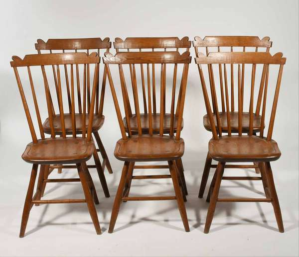 """Set of 6 bench made Windsor style chairs, stylized crest rail and bamboo turnings and single board plank seat hand made in a Windsor style likely 1st half of the 20th C.. 35""""H x 17"""" seat H. x 19""""W"""
