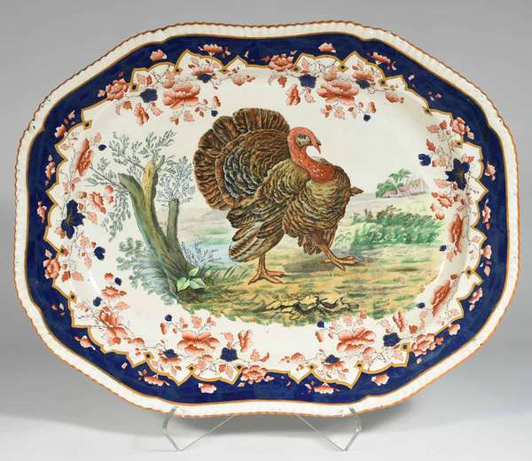 """Large incised mark Copeland ceramic scenic turkey serving platter with gadrooned edge and colorful decoration, 23.5"""" L X 18.5"""" W -Condition: crazing evident on front and back, 1.5"""" scratch in decoration, uncleaned estate condition, some paint splatter at time of production"""