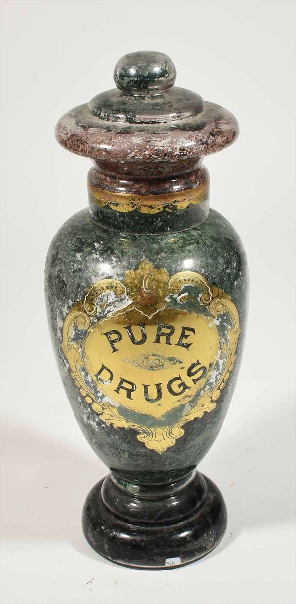"""Antique glass apothecary jar, """"Pure Drugs"""" internally decorated with gilt highlights, 26""""H. -Condition:  peeling and loss to Internal decoration, minor chipping on rim of lid and spout"""