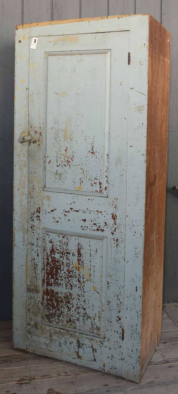 """Early 19th C. Chimney cupboard with single paneled door, interior with five fixed shelves, in old crusty paint, 82"""" H X 32.25"""" W X 20"""" D. -Condition: no molding, flaky paint, chipping at base"""
