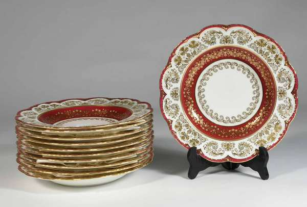 """Set of eleven porcelain bullion/ broth bowls, fine gilt and red band decoration, Brown Westhead Moore Co. / Tiffany & Co  made by Cauldon England, Dia. 9 """" -Condition: minor gilt loss and scratching"""