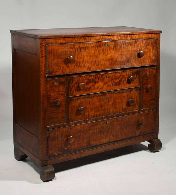 """19th C. Vermont tiger maple and cherry sideboard with bottle drawers, Ca. 1840's - 44""""W. x 42.5""""H. x 21""""D -Condition: old refinish, replaced old knobs, surface abrasions and damages to cock beading around drawers, see images"""