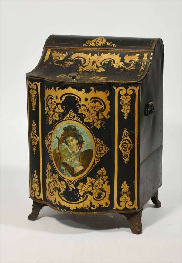 """Victorian era decorated tin tea bin with fanciful portrait and scrolling decoration, """"Santos"""" -  31"""" x 19"""" x 17"""" -Condition: some minor denting, paint loss/ scratching"""