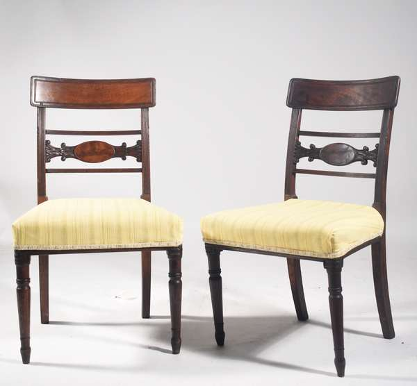 """Set of 6 English Regency chairs, inlaid mahogany with turned legs and upholstered seats, ca 1820-30, 34.5"""" H x 17.5"""" seat height 17.5"""" x 20"""", -Condition 3 chairs with repairs to back crest rail, wear and abrasions expected with chairs of this age."""