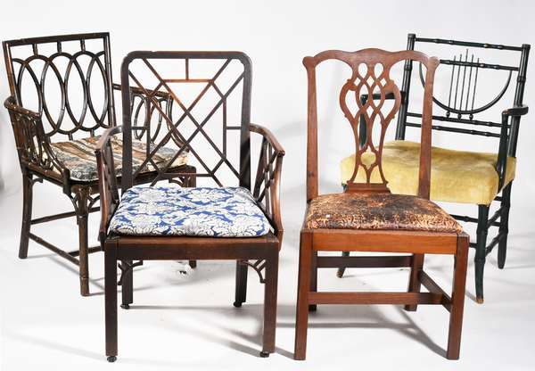 Selection of four antique chairs all with distinct styles including period 18th C. mahogany example in traditional Am. Chippendale and Chinese Chippendale forms, others in faux bamboo turned Regency style,  4 pcs. -Condition: overall good but showing signs of use and wear including worn seats, abrasions, etc