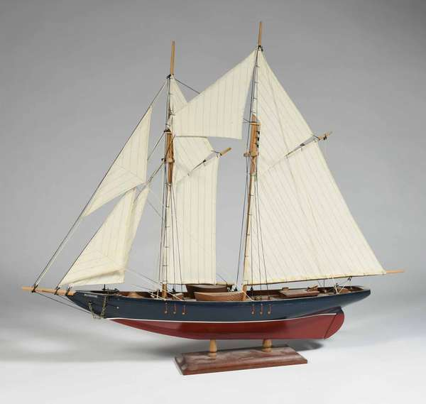 """""""Blue Nose"""" schooner boat model, boat measures 25"""" X 18"""" (without stand), Ca. 1950's. -Condition: overall original and good order"""