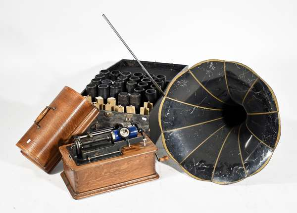 Edison Home phonograph with oak case, fitted box with records and horn, #300810 -Condition: cleaned  and refinished oak case, running order, horn with scratching and minor denting