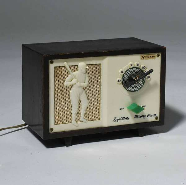 "Vintage Stellar baseball radio, Roger Maris and Mickey Mantle, 5.25""H x 7""L.  Condition: working, original cord and finish."