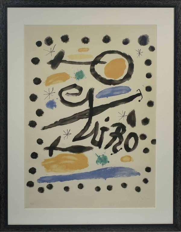 "Joan Miro (Spanish, 1893-1983). Untitled, Edition 36/50, circa 1955. Color lithograph on paper, signed ""Miro"" in graphite l.r. Numbered in graphite l.l. Sight 38 1/2"" x 27 "", frame 29"" x 37"".  Condition: Not examined out of frame. In overall very fine condition with no evidence of tears, fraying, or embrittlement. Very fine foxing throughout commensurate with age."