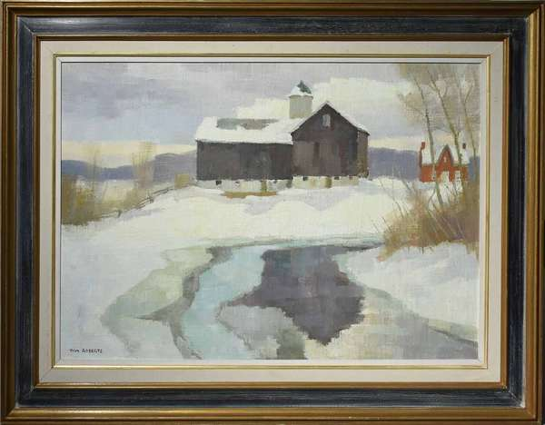 "Thomas Keith Roberts (Canadian, 1909 - 1998). Mild March Day on the Farm, circa 1980. Oil on masonite, signed ""TOM ROBERTS"" l.l., 22"" x 32"". Titled and signed on verso with two labels; the first pertaining to the artist's biography, the second from Continental Galleries, Montreal, Canada. Frame 30"" x 40"".  Condition: Examined under UV light. In overall very fine condition with no apparent issues. Housed in its original frame."