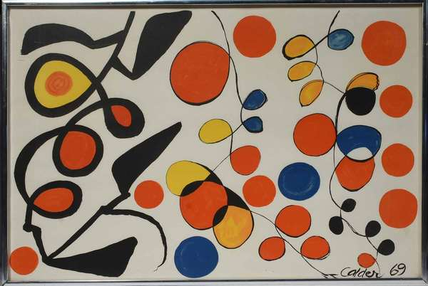 "Alexander Calder (American, 1898-1976). Spring Carnival, 1969. Color lithograph on paper, signed ""Calder / 69"" l.r. No edition information found. Artist biography and certificate of authentication label on verso. Sight 17"" x 25 "", frame 17 3/4"" x 25 3/4 "".  Condition: Not examined out of frame. In overall very fine condition. Small half-inch area of light surface soiling that can be easily removed."