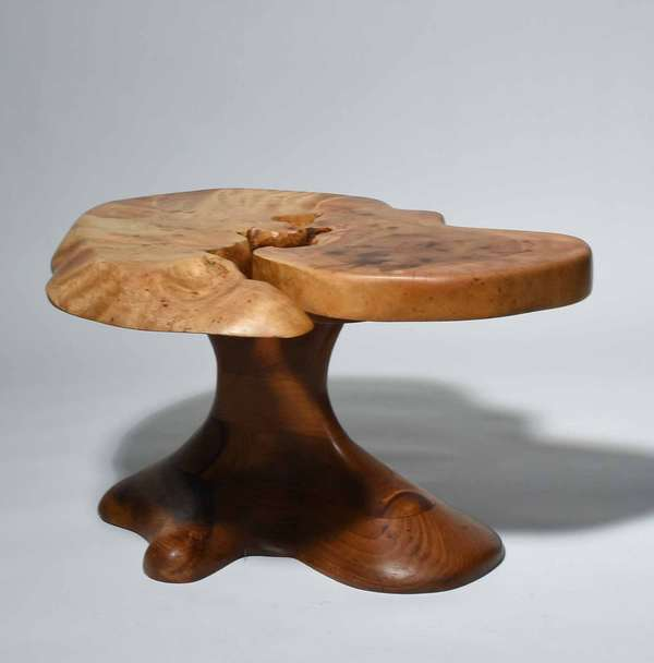 "Stephen Swift (Nantucket, 1948 - 2001). Root Wood Artisan Table, late 20th C. Incised signature ""S. Swift/ Nantucket/ 496/ E. Jacob"" on underside of top, 15 3/4"" H x 22 1/2"" W x 30"" L.  Condition: In overall fine condition. The top with some water stains and surface accretions."