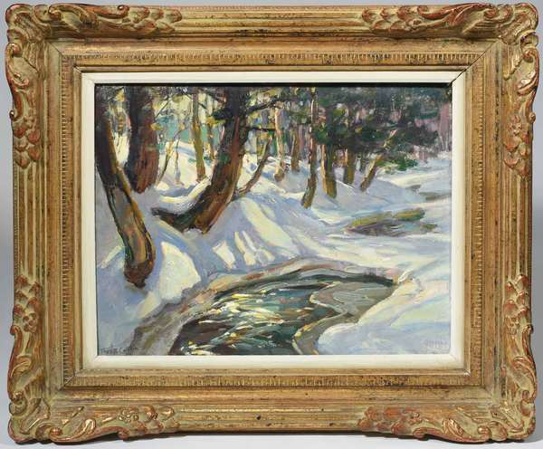 "Thomas R. Curtin (American, 1899 - 1977). New England Winter River, early-mid 20th C. Oil on canvasboard, signed ""Thos. R. Curtin'' l.l., 15 7/8"" x 20"". In period carved and giltwood frame 24 3/8"" x 28 1/2"". With canvas preparer's label on verso. Condition: Examined under UV light. In overall very fine condition. Some long shrinkage cracks throughout commensurate with age. Top right corner with wear from abrasion with frame."