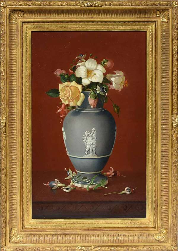"Edward C. Leavitt (American, 1842 - 1904). Still Life: Flowers in a Classical Vase, 1875. Oil on canvas, signed ""EC Leavitt 1875 / Prov"" l.l., 20 1/4"" x 12 1 /4"". Gilt frame 25 3/4"" x 17 1/2"". With a letter containing biographical information on the artist from the Providence Art Club and a copy of provenance records from Christie's East.  Provenance: Christie's East, New York. December 2, 1992, Lot 128.  Condition: Examined under UV light. In overall very fine condition. Two small repairs with some inpainting: the first along the bottom left edge, the second c.r. (in background next to vase) with corresponding patch visible on verso. The stretcher appears to retain its original keys."