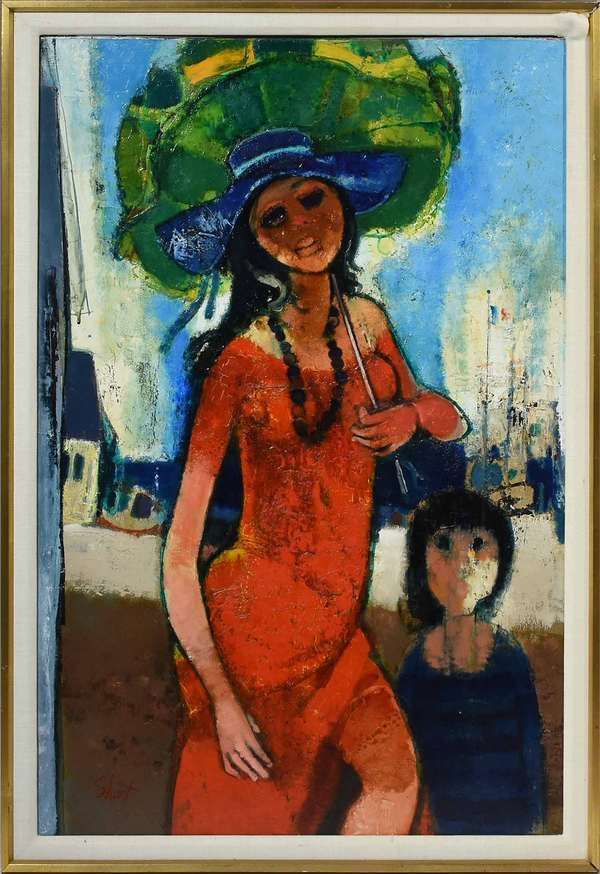 "Serge Shart (Lebanese, 1927 - 2011). Jeune Fille à l'ombrelle, 1971. Oil on canvas, signed l.l. ""Shart"". Signed, titled, and dated verso. 39"" x 29 1/2"", frame 42 1/2"" x 28 1/2"".  Condition: Examined under UV light. In overall very fine condition. The background right side with a few hailine shrinkage cracks commensurate with age."