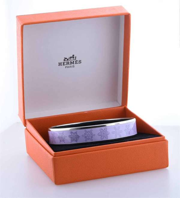 Hermes enamel snowflake bangle bracelet with original box, light lavender, 14 mm wide.  Condition: very good, preowned, expect signs of normal wear.