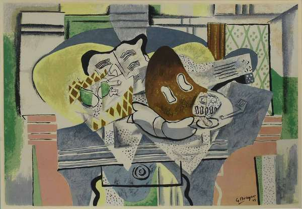 "Georges Braque (French, 1882 - 1963). Still Life, circa 1929. Color lithograph on paper, signed ""G Braque / 29"" l.r. Sight 21 3/4"" x 30 1/2"", frame 27 5/8"" x 36"".  Condition: Not examined out of frame. In overall very fine condition with no apparent issues. Possible negligible discoloration commensurate with age. Note that the glass has a long crack along the bottom edge and a small crack in the top right corner."