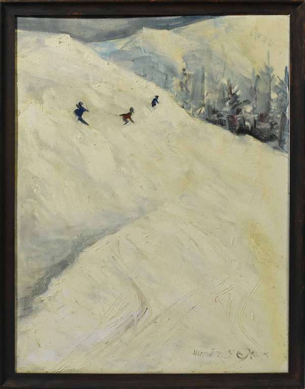 "Heather St Clair Davis (1939-1999, VT/England) oil on artist board;  ""The Last Run"", skiing scene, 24"" x 18"", info on reverse ca. 1967. Purchased by the consignor from the artist while living in Windsor VT during the 1960's. Believed to represent a day of Skiing at Mount Ascutney.  Condition: some yellowing to painted surface would benefit from a cleaning."