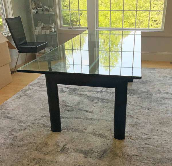 "Cassina Master Collection Corbusier-Style Dining Table, 21st century. Glass, iron, metal. Top 33 1/2"" x 88 1/4"", total height 29"".  Condition: In overall very fine condition. Some negligible light scratches on the base and glass top."