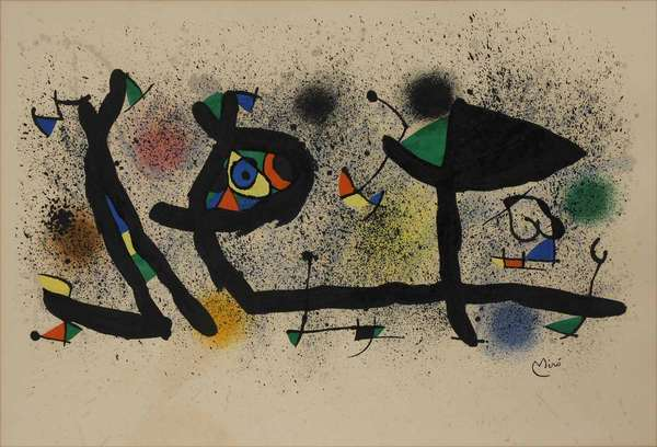 "Joan Miro (Spanish, 1893-1983). Sculptures (M. 950), 1974. Color lithograph on paper, signed ""Miro"" l.r. No edition information found. Sight 16 3/4"" x 24 3/4 "", sheet size 22"" x 30 "", frame 23 x 31 1/4 "".  Condition: Examined out of frame and under UV light. In overall fine condition. Repaired tear with some touch up inpainting in center. Some discoloration throughout, slight mat burn, and negligible foxing commensurate with age."
