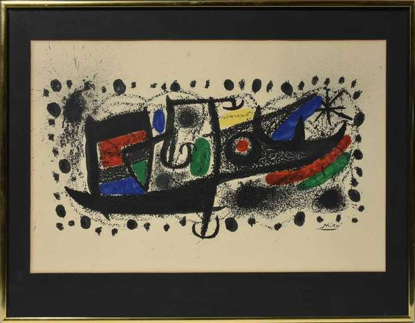 "Joan Miro (Spanish, 1893-1983). Star Scene, circa 1970. Color lithograph on paper, signed ""Miro"" l.r. No edition information found. Title, artist biography, and certificate of authentication label on verso. Sight 13 1/4"" x 21 "", sheet size 18"" x 24 "", frame 18 1/4"" x 24 1/4"".  Condition: Examined out of frame and under UV light. In overall very fine condition. Some discoloration throughout, slight mat burn, and negligible foxing commensurate with age."