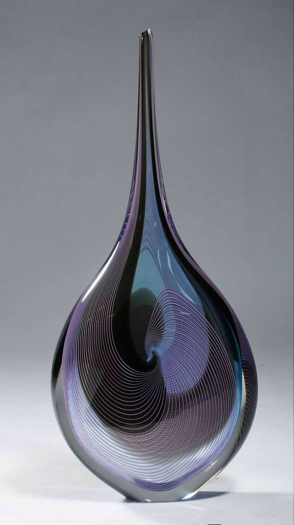 "Impressive Murano glass vase, swirl design, artist signed, 24.5""H x 11""W. Condition: very good."