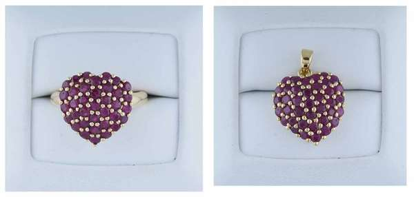 Approx. 1.44ct tw heart shaped ruby ring set in 14kt yellow gold and matching pendant approx. 2.0ct tw, 7.5 grams. Condition: good.