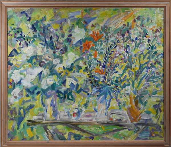 "Large oil on canvas, colorful impressionist garden scene, signed and dated on verso in what appears to be a Russian signature, 1992 -  42.5"" x 49"" overall with frame 48"" x 53"".  Condition: overall very good, small amount of craquelure."