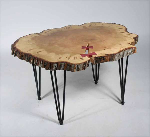 "Larry Brown (Vermont, contemporary). Artisan Ambrosia Maple Slab Table, 2021. With purple heart bowties, the wood harvested in Cleveland, Ohio. Height 20 3/4"".  Condition: In very fine condition with no issues detected."