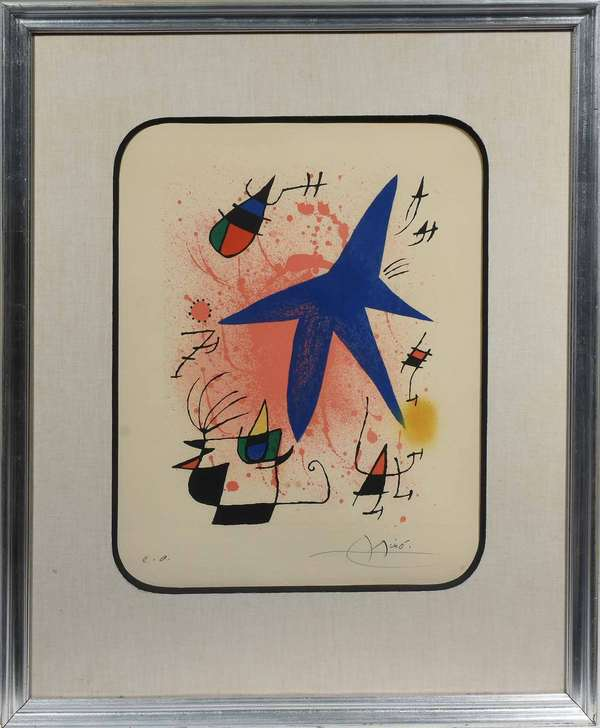 "Pencil signed lithograph in color, Joan Miro (1893-1983), Lithographs I, 1972, signed in pencil, ""E.A."" - ""Miro"", artists proof, with gallery label on reverse, 16 1/8"" X 13"" (visible image) in frame25"" X 21""