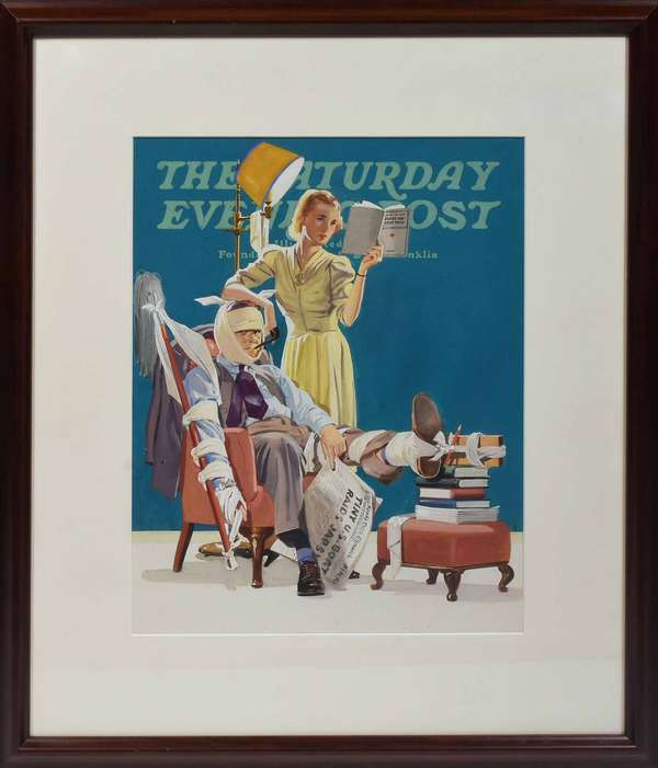 "Gouache on paper, colorful illustration study for The Saturday Evening Post, unsigned, appears to be circa 1930's, 13.5"" H X 10.5"" image in contemporary frame, 21"" X 18.25"" Condition: minor foxing on bottom edge."