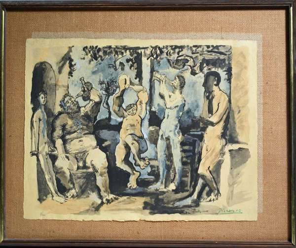 "Pablo Picasso (Spanish/French, 1881-1973) color lithograph, Pochoir Bacchanale, framed under glass, signed in the plate, pencil numbered in margin 7/500, sheet size 16"" x 21.5.  Condition: some fading."