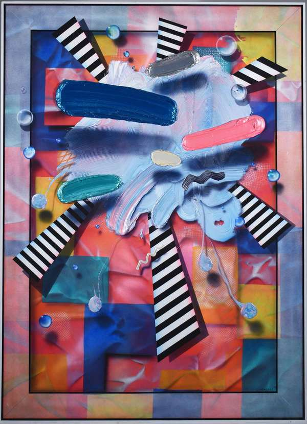 "Clarence Measelle (American, B. 1937). 3-D 80's Pop Abstract, circa 1986. Large acrylic on canvas, signed ""Measelle"" l.r. Housed in a 1/2"" thick frame, 5' 11 1/4"" x 4' 51 1/4"".  Condition: In overall very fine condition with no issues detected."