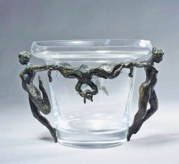"Patrick Laroche (French, B. 1959) bronze and glass center piece, two nude female figures encompassing a central clear glass bowl, signed on bronze, P. Laroche, 11.25"" W X 8.75"" dia of bowl X 7.5"" H. Condition: overall good condition with good patina."