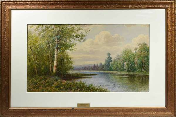 "WILLIAM PASKELL, EARLY 20TH C., WC, N.H. RIVERSCAPE. Signed ""Wm. Paskell"" l.l., housed in a carved Art Deco frame, the reverse with Peter Pelletier gallery label, sight 15"" x 25"", frame 25 1/2"" x 35 3/4"".   Condition: Not examined out of frame. In overall very good condition with light toning commensurate with age."